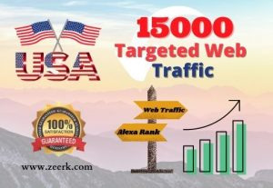 I will provide you 15,000 USA based real web traffic to your website.