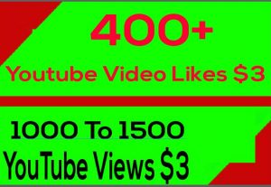 400+ YouTube Video Likes Or 1000 To 1500 YouTube Views Or 40+ Video Custom Comments Or 40+ Subscribers Give You