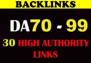 30 High Authority DA 70 to 99 SEO backlinks