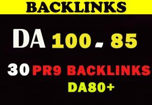 Manually Do 30 Pr9 DA 80+ Safe SEO High Authority Backlinks for $5