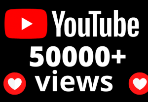 I will add 50,000+ YouTube views  OR 50k VIEWS
