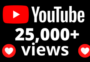 I will add 25,000+ YouTube views OR 25k VIEWS