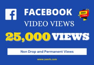 I will provide 25k real views on your facebook videos [Non Droppable]