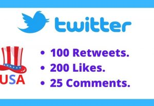 I will provide Twitter 100 retweets, 200 Likes & 25comments