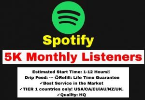 Get 5000+ Spotify Monthly Listeners, Non-Drop, and Lifetime Guaranteed