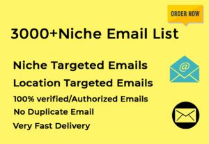 I will give 3000+ niche targeted email list