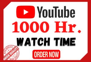 I will provide 1000 hours watch time in your YouTube videos