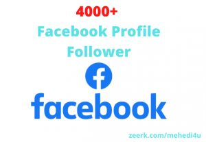 I will give 4000+ real Facebook Profile Followers || 100% original || Permanent