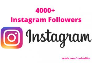 I will give 4000+ real Instagram Followers || Permanent || 100% original