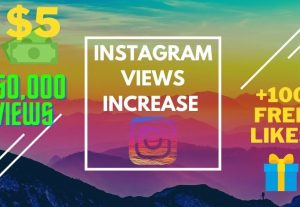 50,000+ instagram video views + Gift of 100 likes