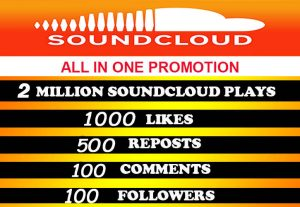 2Million soundcloud plays with all in one for $6