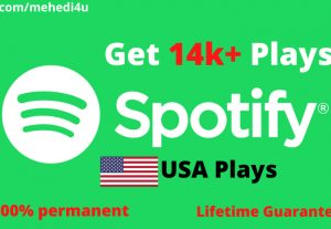 Get 14k+ Spotify Plays from USA accounts ||  Lifetime Guarantee || 100 % Permenent