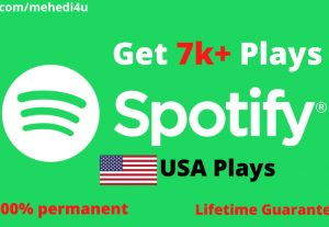 Get 7000+ Spotify Plays from USA accounts ||  Lifetime Guarantee || 100 % Permenent