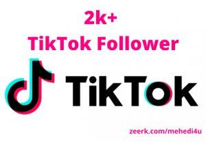 I will provide 2k+ real TikTok Followers || 100% original