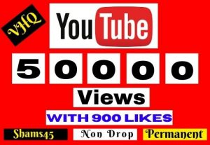 Get 50000+ Youtube Real Views with 900 Likes,100% Non-drop, and Lifetime permanent, Money back guarantee