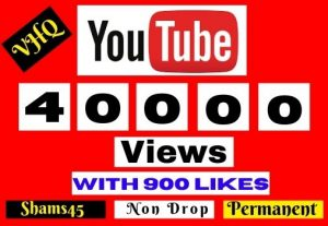 Get 40000+ Youtube Real Views with 900 Likes,100% Non-drop, and Lifetime permanent, Money back guarantee