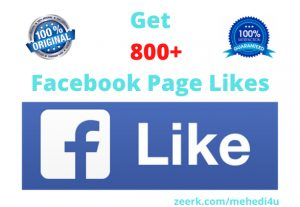 I will give 800+ real Facebook Page Likes || 100% original || Permanent
