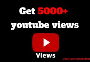 I will provide 5k youtube permanent views || 100% original || 100% safe || For Lifetime Guarantee