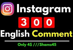 Get 300 Instagram Comment , Full english , Non Drop and Permanent