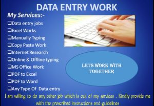 I will work on any data entry work.