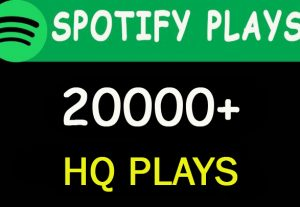 20,000 HQ Spotify Music plays lifetime guarantee
