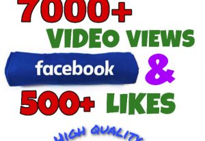I will add 7000+ Video Views & 500+ Likes on Facebook. High Quality.