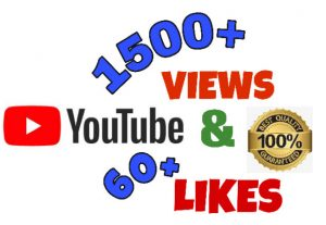 I will add 1500+ Views & 60+ Likes on youtube post. High Quality.