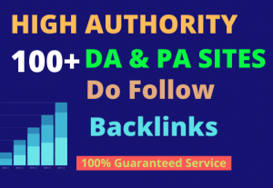 I will high quality dofollow SEO backlinks da 100 plus authority white hat link building