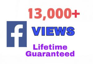 I will provide 13000+ Facebook VIEWS !!! Lifetime Guarantee !