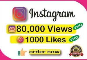 Get Instant 1000+ Instagram Very HQ Likes or 80,000+ Very HQ Videos Views+Impresion+Reach in 1 to 12 Hours ||Real & Active Users || Non Drop Guaranteed.