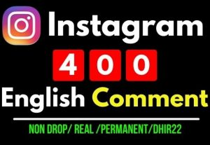 Get 400 Instagram Real English Random comments, 100% Real and Non drop