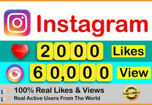 Get Instant 60,000+ Instagram Video views & 2000 Likes || Real & Active Users || Non Drop Guaranteed.