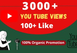 Get Organic 3000+ YouTube Views, & 100+ Likes, Real Active Users, 