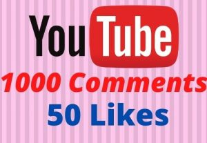 Get 1000 Youtube Comments and 50 Likes Non-drop Lifetime Guaranteed.