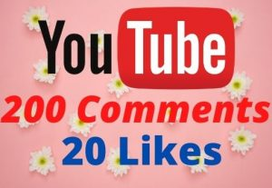 Get 200 Youtube Comments and 20 Likes Non-drop Lifetime Guaranteed.