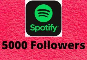 Provide 5000+ Spotify followers high-quality Non-Drop Lifetime Guaranteed