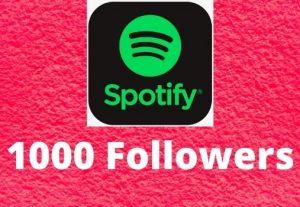 Provide 1000 Spotify followers high-quality Non-Drop Lifetime Guaranteed