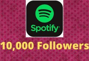 Provide 10,000 Spotify followers high-quality Non-Drop Lifetime Guaranteed