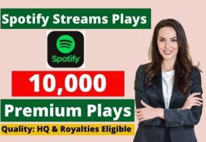 Send 10,000 Spotify Stream Premium Plays HQ and Royalties Eligible