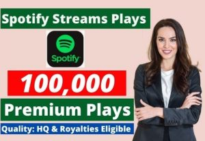 Send 100,000 Spotify Stream Premium Plays HQ and Royalties Eligible