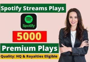 Send 5000 Spotify Stream Premium Plays HQ and Royalties Eligible