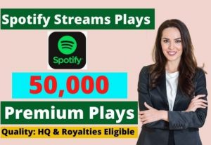 Send 50,000 Spotify Stream Premium Plays HQ and Royalties Eligible