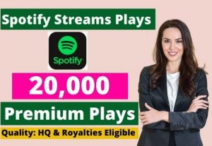 Send 20,000 Spotify Stream Premium Plays HQ and Royalties Eligible