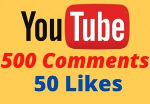 Get 500 Youtube Comments and 50 Likes Non-drop Lifetime Guaranteed.