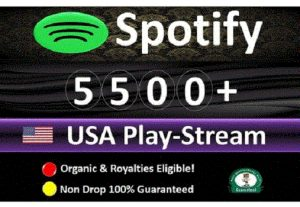 Get 10,000 to 15,000 Spotify ORGANIC Plays From HQ Account of USA or A+ Country CA/EU/AU/NZ/UK. Lasting Guaranteed