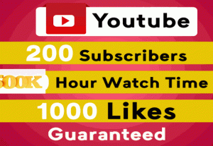 250  YOUTUBE subscribers or 5 000 views   or  500 Hour Youtube Watch Time   NON DROP AND REAL ORGANIC