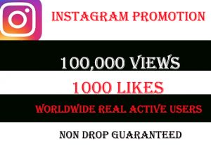 I will give you 100,000+ Instagram Video views & 1000 Likes, Real & Active Users