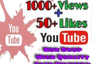 I will provide 1000+ Views and 50+Likes on YouTube!! Fast and HQ!!