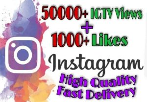 I will provide 50000+ TV/IGTV Views and 1000+ Likes on Instagram!! Fast and HQ!!