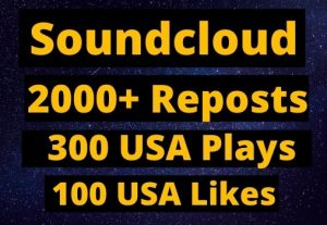 Instant Give 2000+ SoundCloud Reposts, 300 plays, 100 likes on your Track organic.
